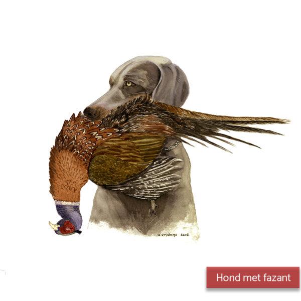 Kateleen Vrijdags Wildlife artist schilderij Hond en fasant